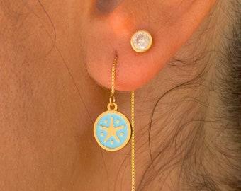 Starfish Gold Earrings, Gold Charm Earrings, Dainty Gold Earrings, Starfish Earrings, Starfish Jewelry, Long Chain Earrings, Minimalist