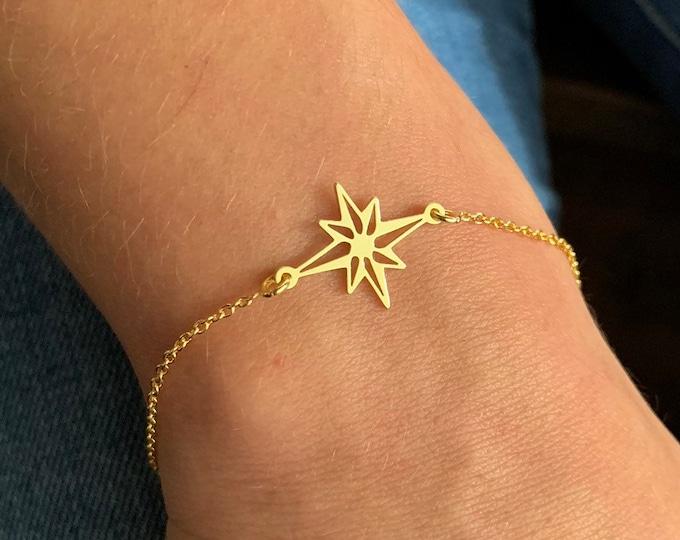 Silver Pole Star Bracelet For Women - Dainty Star Jewelry - Minimalist Celestial Charm Bracelet To Gift For Her