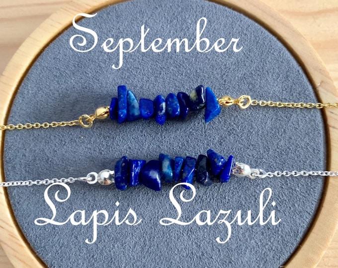 Birthstone Bracelet, Raw Lapis Lazuli Bracelet, Bracelets For Women, Birthstone Jewelry, Lapis Lazuli Jewelry, Raw Bracelet, Raw Jewelry