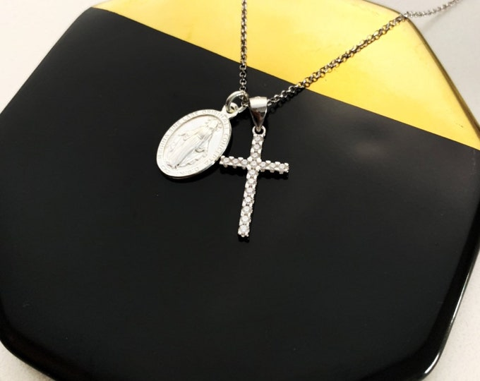 Dainty Silver Necklace For Women - Cross With Vigin Mary Necklace - Minimalist  Religious Jewelry To Gift For Her