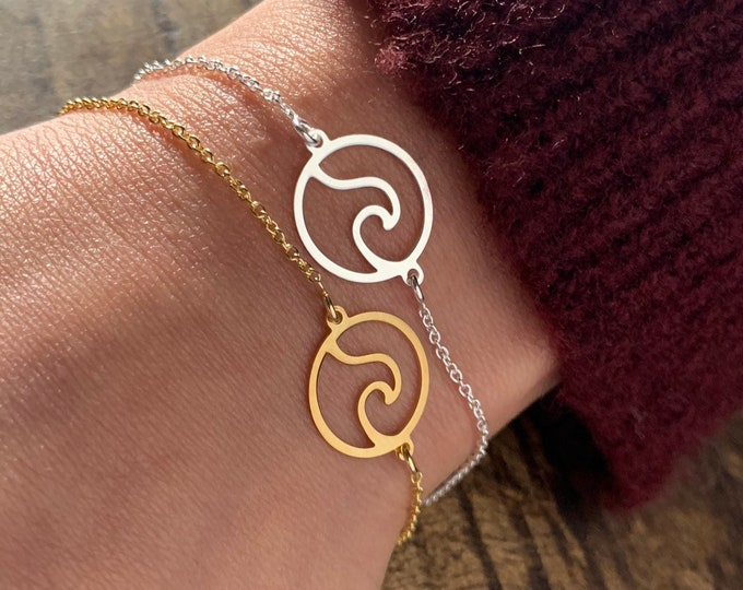 Silver Sea Wave Bracelet For Women - Dainty Gold Ocean Wave Bracelet - Minimalist Surfer Bracelet To Gift For Her