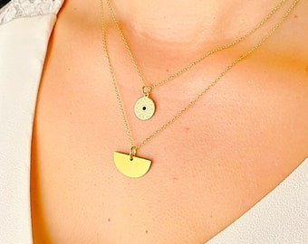 Horoscope Necklace, Dainty Gold Necklace, Zodiac Necklace, Layered Necklace, Necklaces For Woman, Horoscope Jewelry, Half Circle Necklace