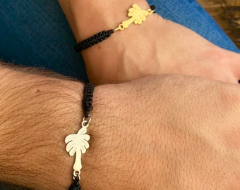Silver Palm Tree Couple Bracelet - Gold Friendship Set Jewelry - Gift For Couples