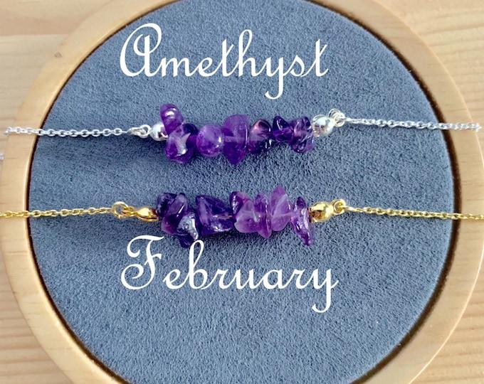 Birthstone Bracelet, Raw Amethyst Bracelet, Bracelets For Women, Birthstone Jewelry, Amethyst Jewelry, Raw Bracelet, Raw Jewelry, February