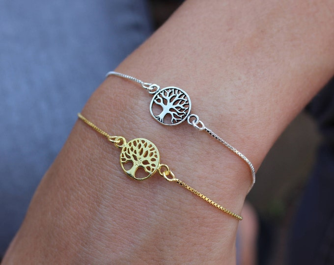 Silver Tree Of Life Bracelet For Women - Dainty Silver Tree Of Life Jewelry - Minimalist Tree Bracelet - Sister Gift - Charm Bracelet