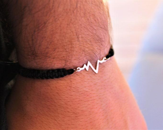 Heartbeat Bracelet, Mens Bracelet, Bracelets For Men, Charm Bracelet, Heartbeat Jewelry, Ekg Bracelet, Nurse Bracelet, Bracelet Men
