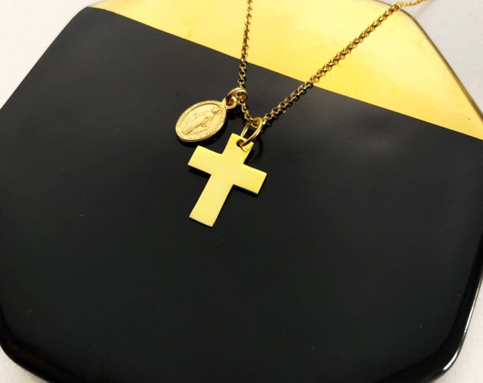 Gold Cross With Vigin Mary Necklace For Women - Dainty Religious Jewelry To Gift For Her