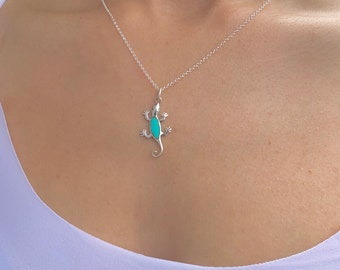 Turquoise Lizard Necklace For Women, Silver Necklace, Turquoise Necklace, Necklaces For Women, Silver Turquoise Necklace, Turquoise Jewelry