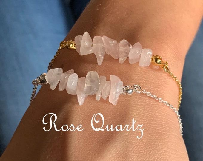 Raw Stone Bracelet, Rose Quartz Bracelet, Bracelets For Women, Raw Stone Jewelry, Beaded Bracelet, Rose Quartz Jewelry, Crystal Jewelry