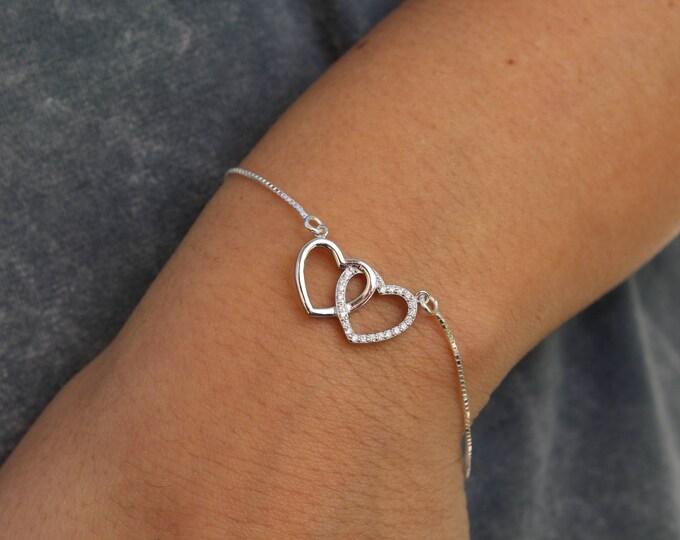 Silver Heart Bracelet For Women - Dainty Heart Jewelry - Minimalist Bracelet To Gift For Her - Gift For Girlfriend