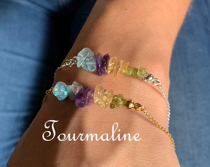Raw Stone Bracelet, Tourmaline Bracelet, Bracelets For Women, Raw Stone Jewelry, Beaded Bracelet, Tourmaline Jewelry, Crystal Jewelry