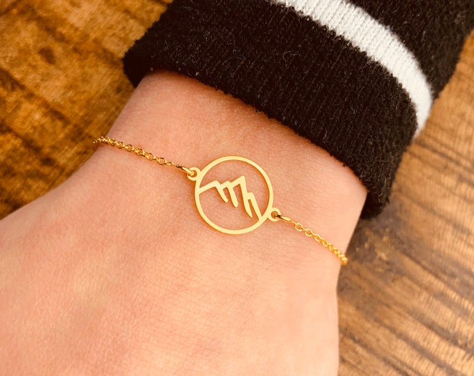 Mountain Charm Bracelet For Women - Dainty Gold Bracelet - Minimalist Silver Bracelet - Mountain Range Jewelry To Gift For Her