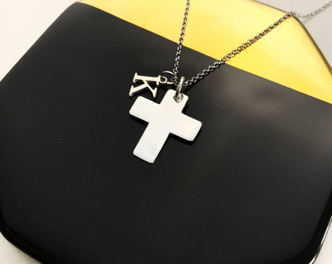Silver Cross Necklace For Women - Personalized Gift For Her - Dainty Cross With Initial Necklace - Minimalist Religious Jewelry