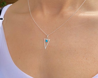 Triangle Necklace, Silver Necklace, Turquoise Necklace, Necklaces For Women, Geometric Necklace, Turquoise Jewelry, Triangle Jewelry