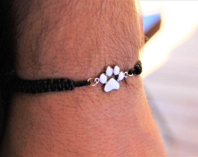 Dog Paw print Bracelet, Mens Bracelet, Bracelets For Men, Bracelet Men, Charm Bracelet, Dog Jewelry, Paw Print Bracelet, Pet Bracelet