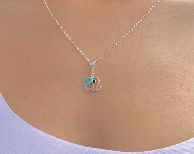 Elephant Necklace, Silver Necklace, Turquoise Necklace, Necklaces For Women, Geometric Necklace, Turquoise Jewelry, Elephant Jewelry