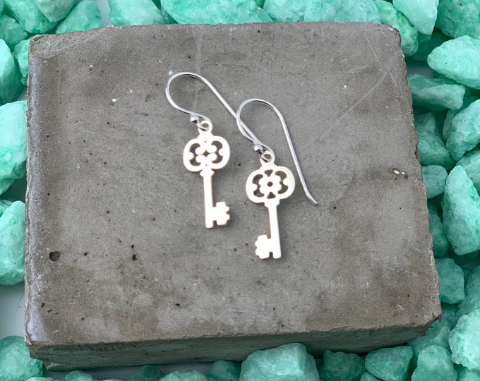 Key Earrings, Dangle Earrings, Dainty Earrings, Drop Earrings, Silver Earrings, Tiny Earrings, Boho Earrings, Earrings For Women