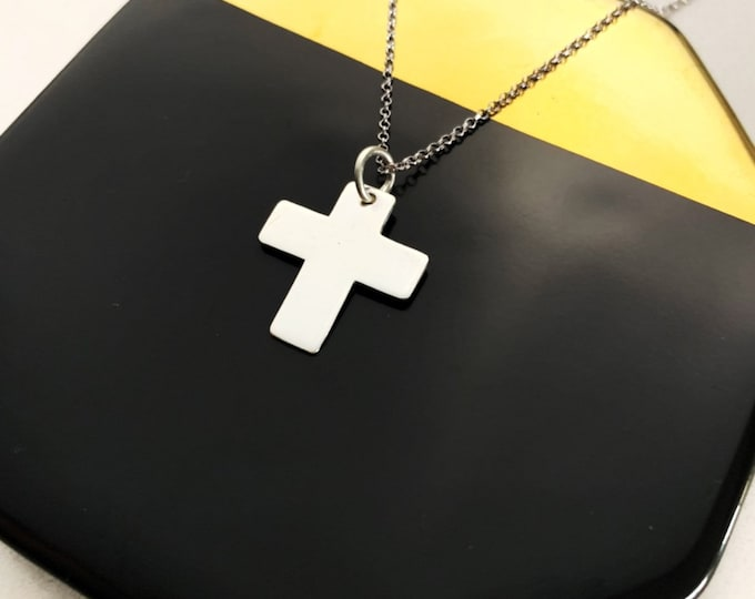 Dainty Silver Necklace For Women - Minimalist Cross Pendant - Religious Jewelry To Gift For Her