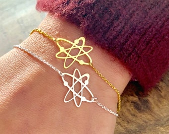 Big Bang Theory Silver Atom Bracelet For Women, Dainty Gold Atom Jewelry - Minimalist Science Bracelet To Gift For Her