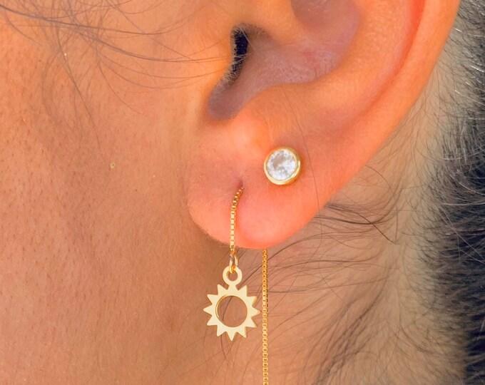 Sun Earrings, Dainty Gold Earrings, Gold Charm Earrings, Threader Earrings, Sun Jewelry, Long Chain Earrings, Minimalist Gold Earrings