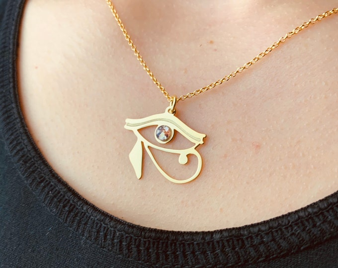 Gold Horus Eye Necklace For Women - Dainty Egypt Necklace - Minimalist African Necklace To Gift For Her - Handmade Charm Jewelry