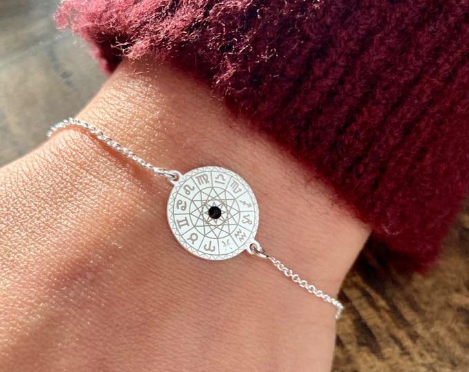 Sterling Silver Zodiac Bracelet For Women, Zodiac Jewelry, Astrology Bracelet, Zodiac Sign Bracelet, Silver Bracelet, Constellation Bracelet