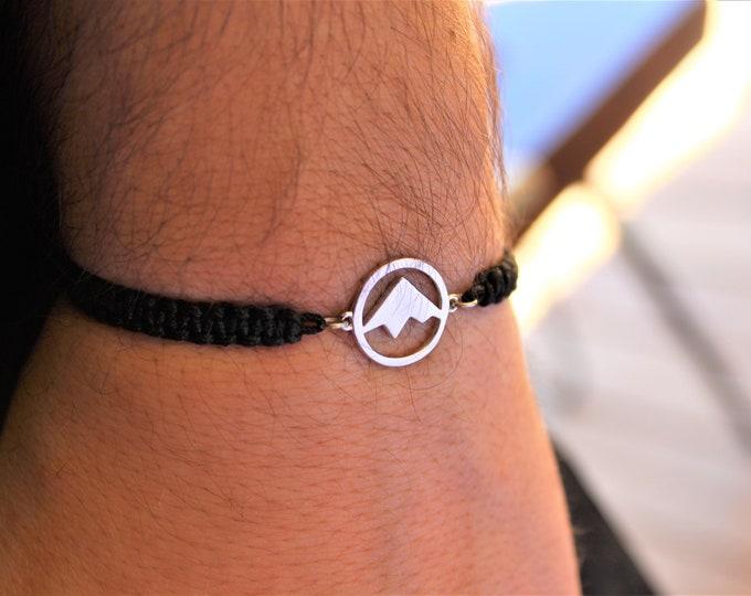 Mountain Bracelet, Mens Bracelet, Bracelets For Men, Charm Bracelet, Bracelet Men, Mountain Jewelry, Travel Bracelet, Friendship Bracelet