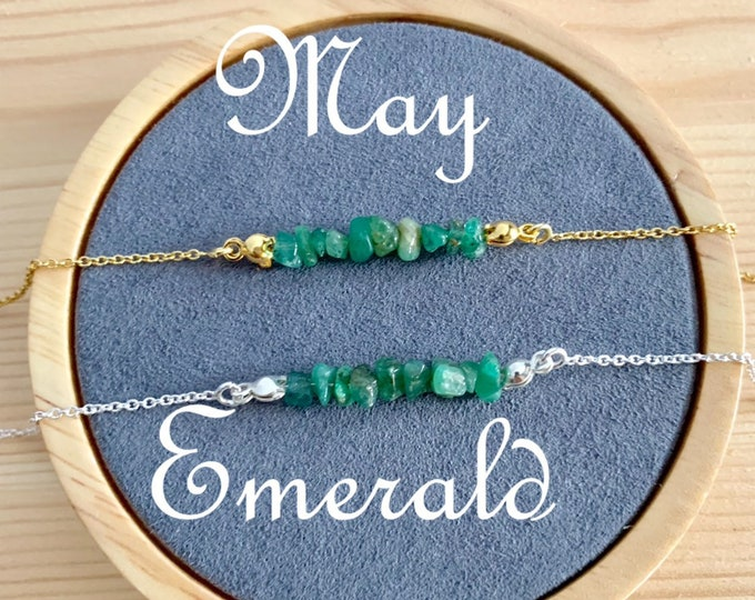 Birthstone Bracelet, Raw Emerald Bracelet, Bracelets For Women, Birthstone Jewelry, Emerald Jewelry, Raw Stone Bracelet, Raw Jewelry, May