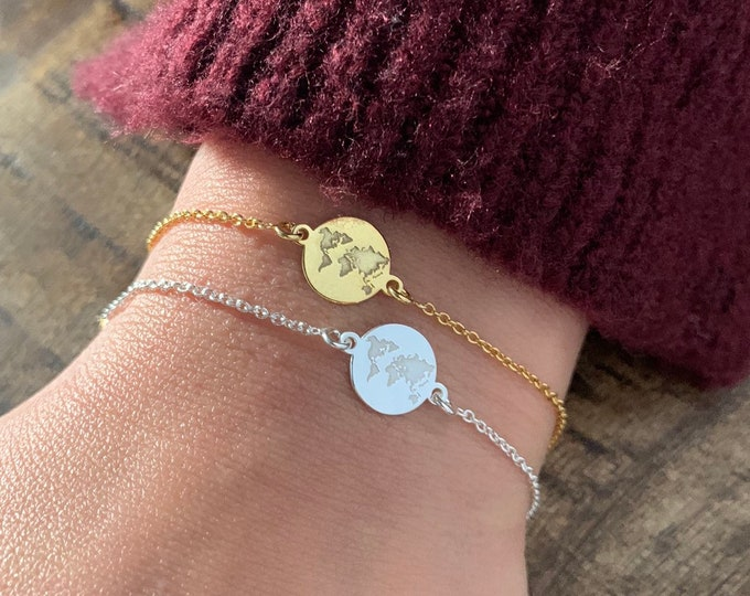 Gold World Map Charm Bracelet For Women - Sterling Silver Globetrotter  Jewelry - Minimalist Traveler Bracelet