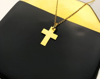 Gold Plated Cross Necklace For Women, Cross Jewelry, Religion Necklace, Gold Necklace, Dainty Necklace, Minimalist Necklace, Gift For Her