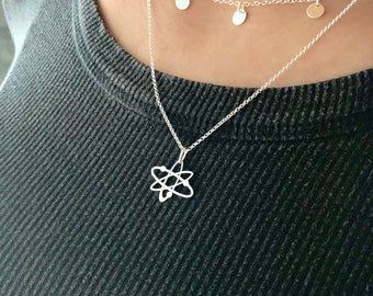 Big Bang Theory Silver Atom Necklace For Women, Dainty Gold Atom Jewelry - Minimalist Science Pendant To Gift For Her