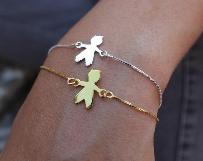 Layered Bracelet, Child Bracelet, Baby Bracelet, Dainty Bracelet, Tiny Bracelet, Gold Bracelet, Sterling Silver, Boy Bracelet