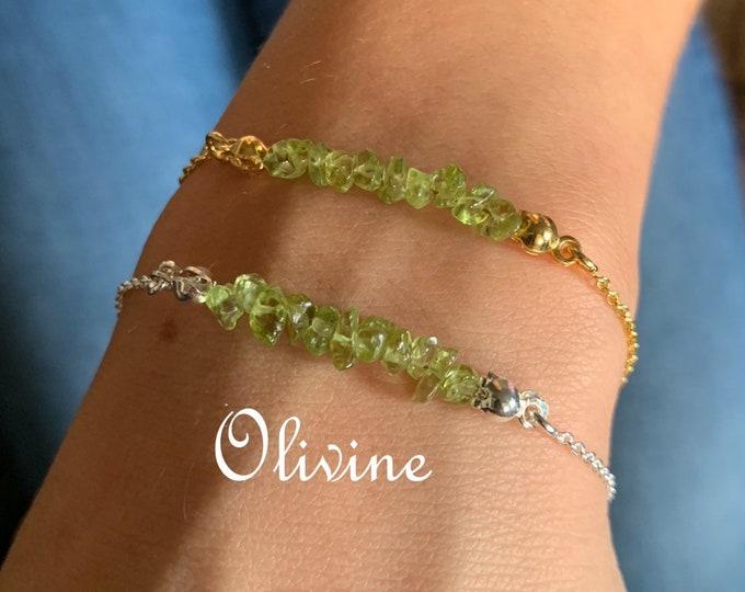 Raw Stone Bracelet, Olivine Bracelet, Bracelets For Women, Raw Stone Jewelry, Beaded Bracelet, Olivine Jewelry, Crystal Jewelry