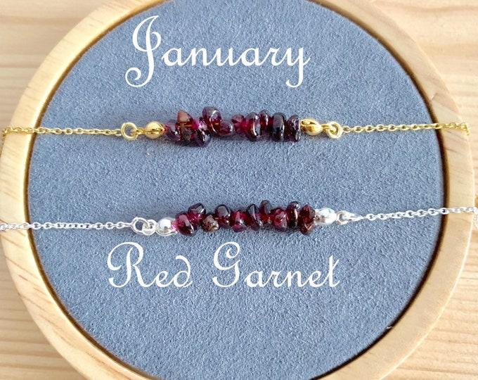 Birthstone Bracelet, Raw Red Garnet Bracelet, Bracelets For Women, Birthstone Jewelry, Garnet Jewelry, Raw Stone Bracelet, Raw Stone Jewelry