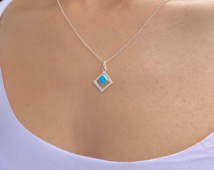 Rhombus Necklace, Silver Necklace, Turquoise Necklace, Necklaces For Women, Geometric Necklace, Turquoise Jewelry, Rhombus Jewelry