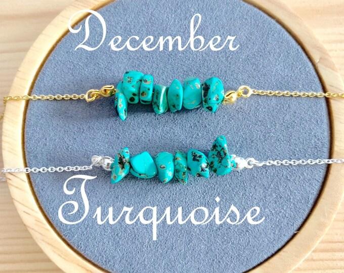 Birthstone Bracelet, Raw Turquoise Bracelet, Bracelets For Women, Birthstone Jewelry, Turquoise Jewelry, Raw Bracelet, Raw Jewelry, December
