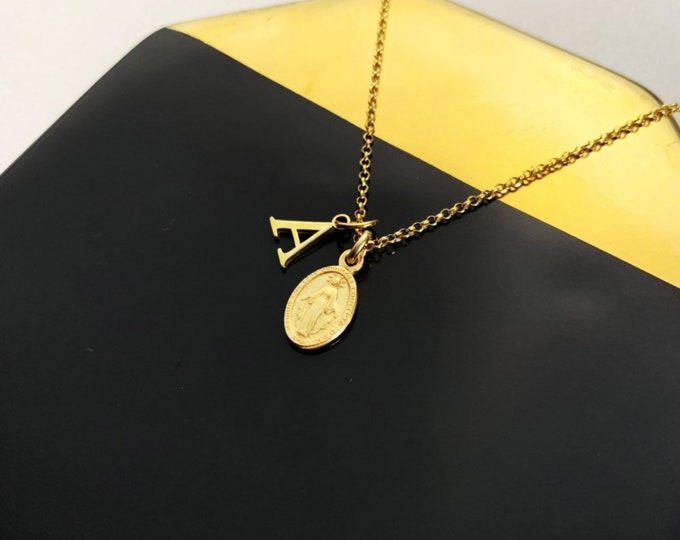 Virgin Mary Initial Necklace, Virgin Mary Jewelry, Gold Necklace, Charm Necklace, Virgin Mary Necklace For Women, Virgin Mary Necklace