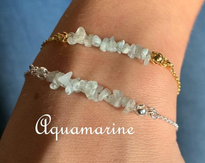Raw Stone Bracelet, Aquamarine Bracelet, Bracelets For Women, Raw Stone Jewelry, Beaded Bracelet, Aquamarine Jewelry, Crystal Jewelry