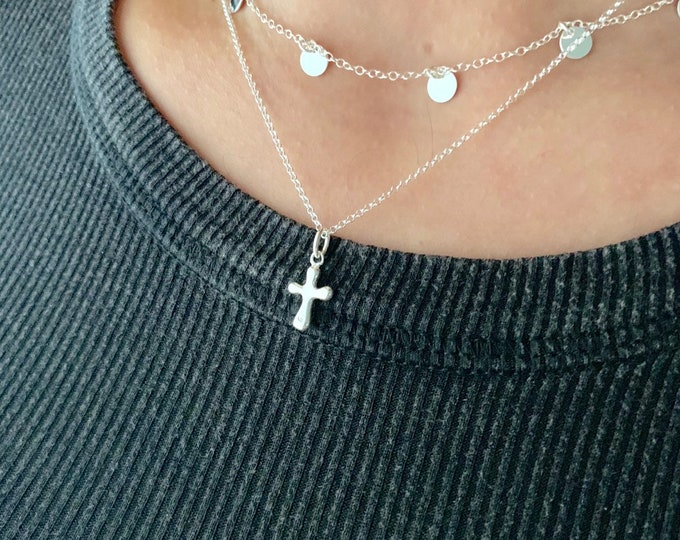 Dainty Necklace For Women - Minimalist Silver Cross Jewelry To Gift For Her - Tiny Religious Pendant Necklace