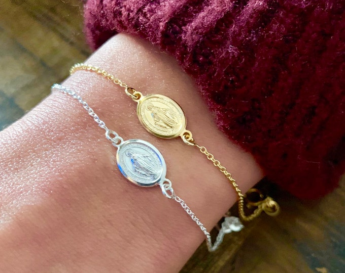 Gold Virgin Mary Charm Bracelet For Women - Sterling Silver Virgin Mary Jewelry - Minimalist Religious Bracelet