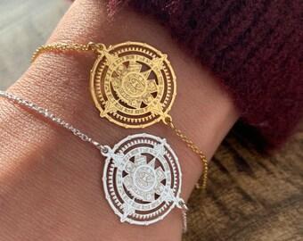 Sterling Silver Mayan Calendar Bracelet For Women, Mayan Jewelry, Calendar Bracelet, Mayan Zodiac Bracelet, Silver Bracelet, Mayan Calendar