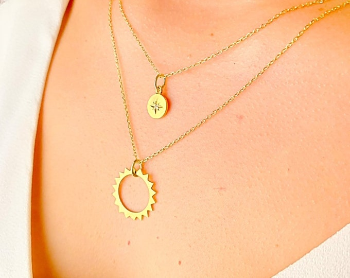 Gold Layering Necklace For Women - Dainty Star Layered Charm Necklace - Minimalist Sun Layered Jewelry To Gift For Her