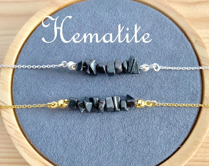 Raw Stone Bracelet, Hematite Bracelet, Bracelets For Women, Raw Stone Jewelry, Beaded Bracelet, Hematite Jewelry, Gemstone Bracelet