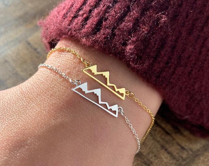 Gold Mountain Bracelet For Women - Dainty Mountain Range Bracelet To Gift For Her - Silver Mountain Charm Bracelet - Minimalist Jewelry