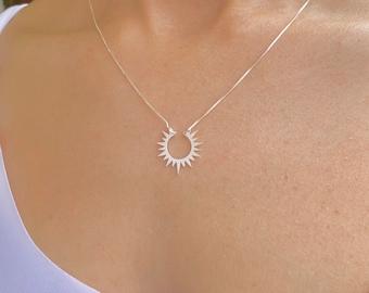 Sterling Silver Sun Necklace, Sun Jewelry, Necklaces For Women, Sun Charm Necklace, Silver Jewelry, Dainty Necklace, Celestial Necklace