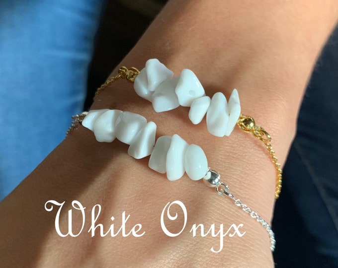 Raw Stone Bracelet, White Onyx Bracelet, Bracelets For Women, Raw Stone Jewelry, Beaded Bracelet, White Onyx Jewelry, Crystal Jewelry