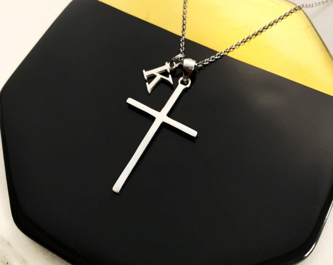 Silver Cross Necklace For Women - Dainty Cross With Initial Necklace - Personalized Gift For Her - Minimalist Religious Jewelry