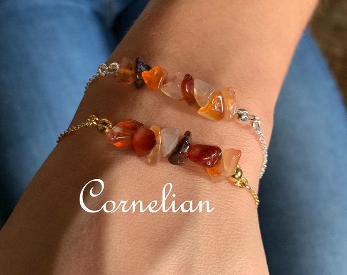 Raw Stone Bracelet, Bracelets For Women, Raw Stone Jewelry, Beaded Bracelet, Cornelian Bracelet, Gift For Her, Yoga Jewelry, Crystal Jewelry