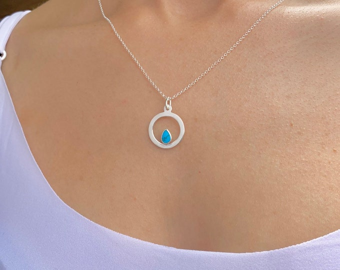 Circle Necklace, Silver Necklace, Turquoise Necklace, Necklaces For Women, Geometric Necklace, Turquoise Jewelry, Circle Jewelry