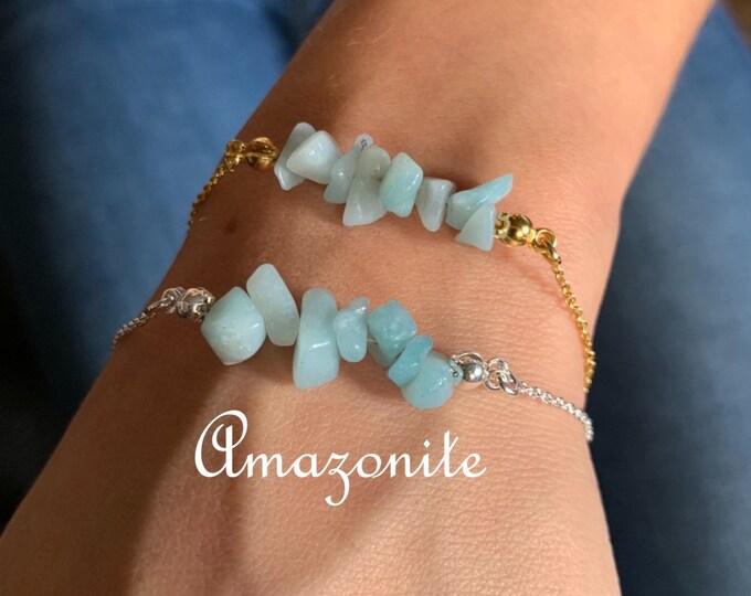 Raw Stone Bracelet, Amazonite Bracelet, Bracelets For Women, Raw Stone Jewelry, Beaded Bracelet, Amazonite Jewelry, Crystal Jewelry